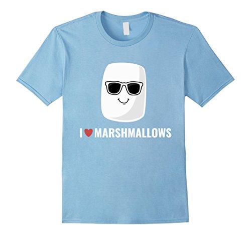Mens I Love Marshmallows T-shirt Cool Cartoon Sunglasses XL Baby Blue for $<!--$17.99-->