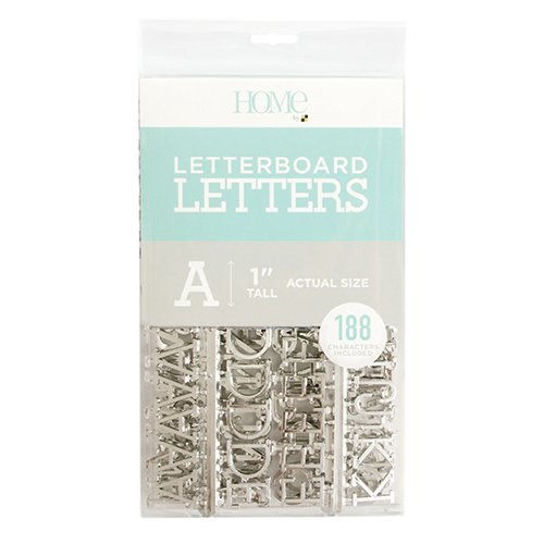 American Crafts 188 Piece 1 Inch Silver Letter Pack Die Cuts with a View Letterboards, 1