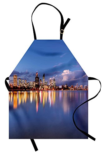 Lunarable Modern Apron, Skyline of Perth Western Australia at Night Dramatic Urban Swan River Scenery, Unisex Kitchen Bib Apron with Adjustable Neck for Cooking Baking Gardening, Violet Blue -