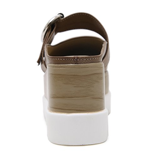 Pp Mode Femmes Carrés-orteils Coins Plate-forme Anti-dérapante Pu Baskets Mode Pompe Pantoufle Sandales Kaki