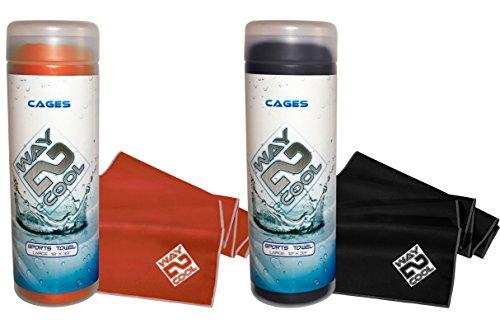 #1 Hottest Selling Elite Microfiber Cooling Towel on the Market by Way 2 Cool (Burnt Orange and Black) (1 Head Neck Cooler)