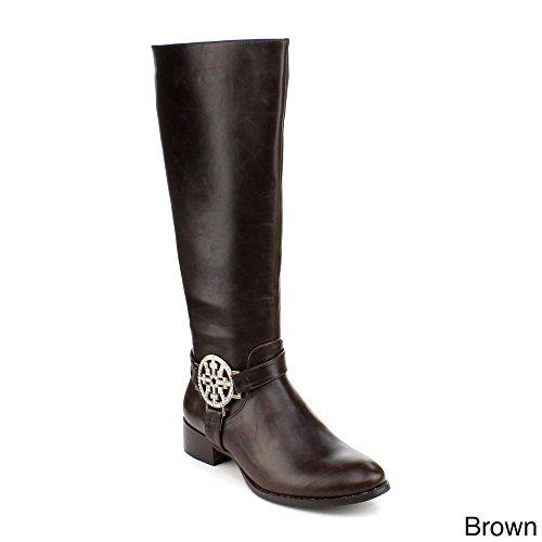 Dbdk Womens Cilena-4 Side Zipper Buckle Rhinestone Almond Toe Combact Riding Knee High Boot Brown KS3lZ4J