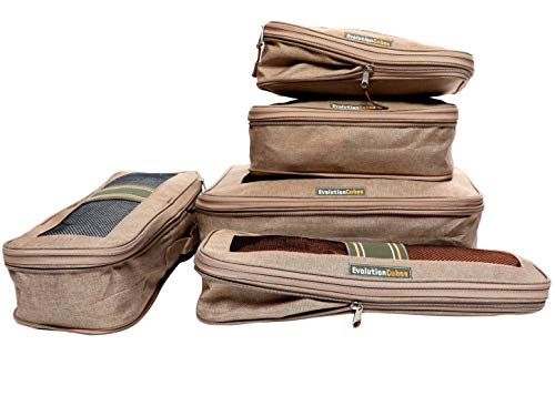 - Compression Packing Cubes Travel 6 Set Luggage Organizers w/Wrinkle-Guard (Riviera Sand Beige)