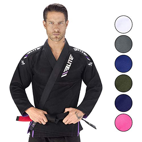 Elite Sports New Item IBJJF Ultra Light BJJ Brazilian Jiu Jitsu Gi w/Preshrunk Fabric & Free Belt (Black, A2) (Best Bjj Gi Brands)