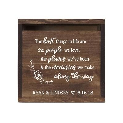 LifeSong Milestones Personalized The Best Things Rustic Wooden Wedding Card Box Custom Card Holder with Front Slot for Newlyweds Couples Reception 13.5'' L x 12'' W x 12.5'' T (Walnut)