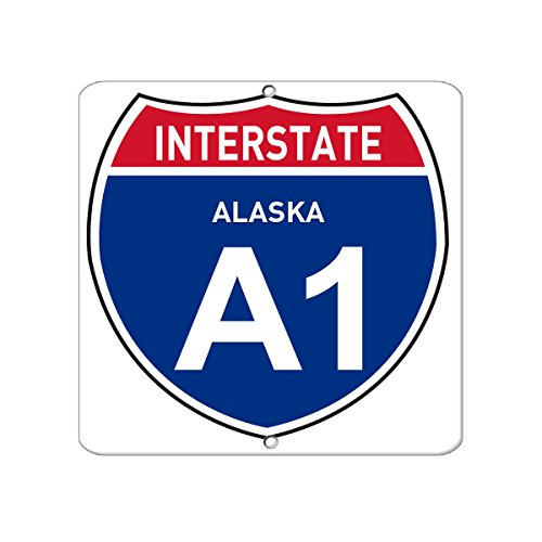 Interstate Alaska A1 Traffic LABEL DECAL STICKER Sticks to Any Surface 12x12 In