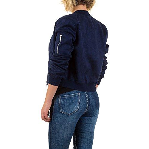Velourslederoptik Piloten Jacke Für Damen , Blau In Gr. 36 bei Ital-Design