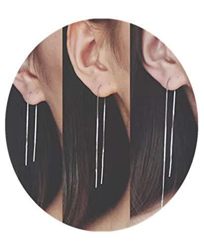 Sophie Land 3 Pair White Gold Plated Tassel Threader Earrings Long Chain Drop Dangle Earring for Women and Girls (14cm,12cm,9cm)