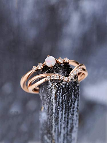 9f7c6cf6324a49 Opal Wedding Ring Set Natural Diamond Engagement Rings 2pcs Solid 14k Rose  Gold Round Cut October Birthstone Curved Stacking Matching Band Bridal  Jewelry ...