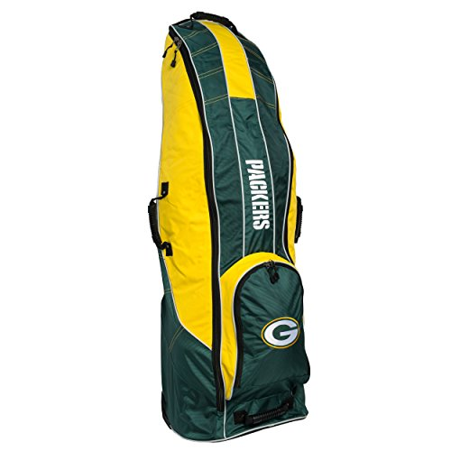Team Golf NFL Travel Golf Bag, High-Impact Plastic Wheelbase, Smooth Quite Transport, Includes Built-in Shoe Bag, Internal Padding, ID Card Holder
