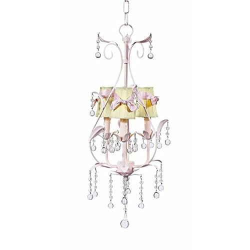 Jubilee 17481 3 Arm Pear Chandelier with Green and Pink Sash Shades - 3 Arm Pear Chandelier