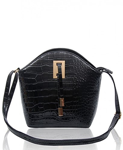 Black Skin Women's Small Handbags LeahWard Chic Crocodile Size Plain Cross Tassel Across Faux Bag 160402 Ladies Body Body vBanaxS