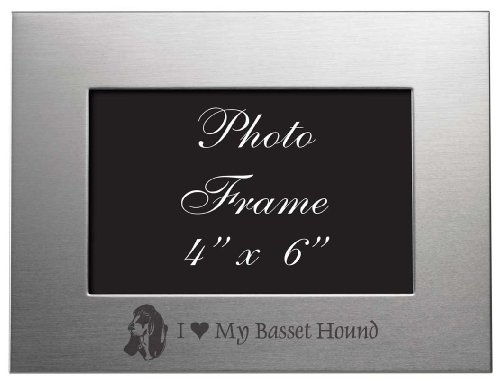 4x6 Brushed Metal Picture Frame - I Love My Basset Hound ()