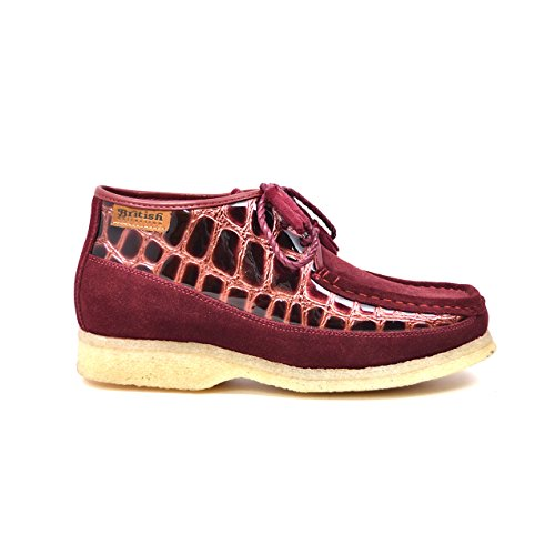 Britse Collectie - Knicks Croc En Suede Mannen Slip Op Schoenen Bordeaux Croc