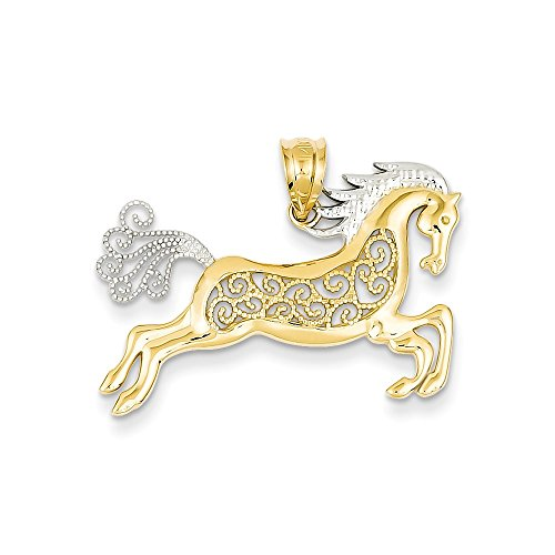 14k Yellow Gold Polished Open back Textured back and Rhodium Filigree Horse Pendant