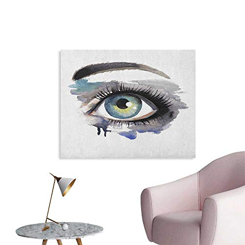 Anzhutwelve Eye Wall Sticker Decals Hand Painting Style Eye of a Woman Looking Up Abstract Art Design with Brushstrokes Funny Poster Multicolor W36 xL24 -