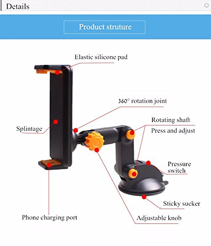 iBall Slide 3G Q7271-IPS20 Car holder Universal 360° Wall Glass Windshield Mount Bracket Stand for Phone iPhone Samsung GPS Tablet