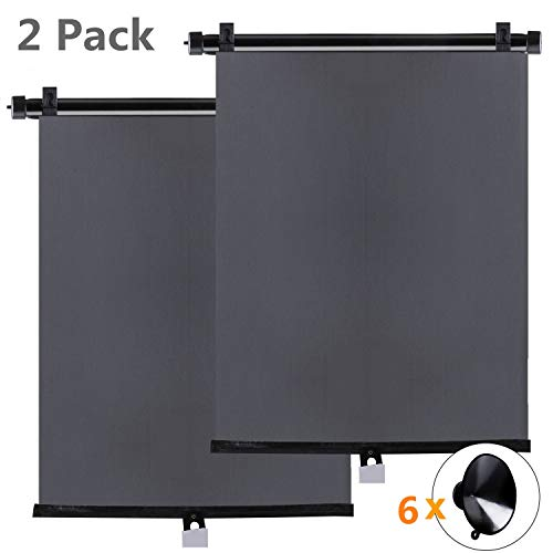 (Sfee 2 Pack Car Sun Window Shade for Side and Rear Car Window, Foldable Car Sun Shade Roller Retractable Sunshade Blocks for Baby - Protect Baby, Kids, Pets and Passengers from Sun Glare and Heat)
