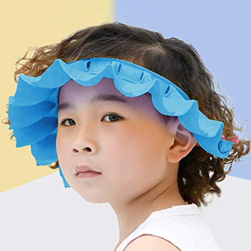 Amazon Com Baby Shower Cap Silicone Shower Visor Bathing Hat Adjustable Shower Cap For Kids Toddler Infants Shampoo Caps Hat Safety Bath Visor Cap Soft Stretchy Protect Eyes Ears Blue Baby