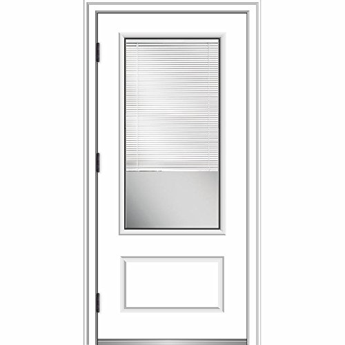 National Door ZA364900R Smooth, Primed, Right Hand Outswing, Prehung Door, 3/4 Lite 1-Panel, Clear Glass Internal Blinds, 36