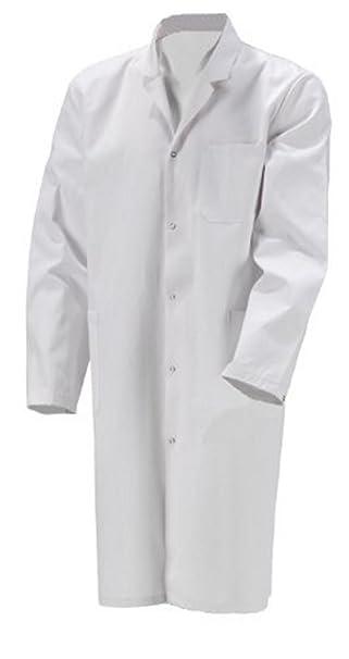 Hombre Bata algodón Blanco Bata Abrigo: Amazon.es: Ropa y accesorios