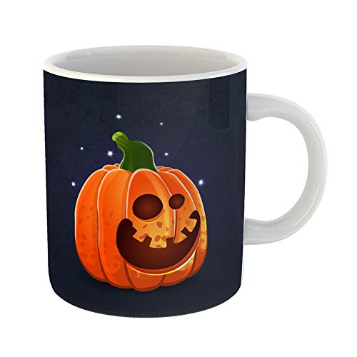 Emvency Coffee Tea Mug Gift 11 Ounces Funny Ceramic Color of Cartoon Halloween Pumpkin Face on Dark Shabby Object to Create Gifts For Family Friends Coworkers Boss Mug -