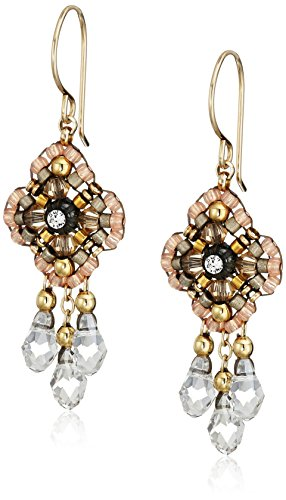 Miguel Ases Pink Clover Swarovski 14k Gold Filled Dangle Earrings - Miguel Ases Beaded Earrings