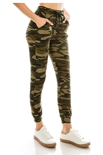ALWAYS Women Drawstrings Jogger Sweatpants - Super Light Skinny Fit Premium Soft Stretch Camo Military Army Pockets Pants S/M ()