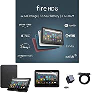 Fire HD 8 Essentials Bundle including Fire HD 8 Tablet (Black, 32GB), Lockscreen Ad-Supported, Amazon Standing