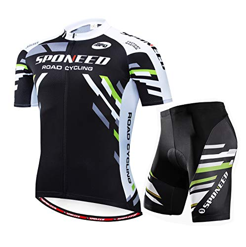 Men's Bicycle Jersey Sets Short Sleeve Bike Pants Padded Road Racing Shirt Cycle Wear US XX-Large Green Black