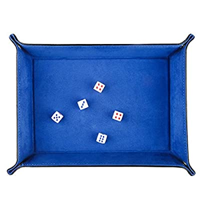 ELYTP Dice Tray of Folding Rectangle PU Leather and Blue Velvet Valet Tray for Dungeons and Dragons RPG,Dice Gaming and Other Table Games: Toys & Games