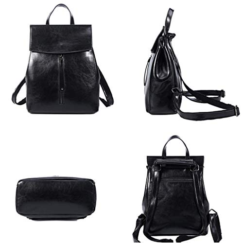 Backpack Teenagers Women Female Black School Cow Travel Shoulder Bags Leather Wax Oil Fashion PwvdXX