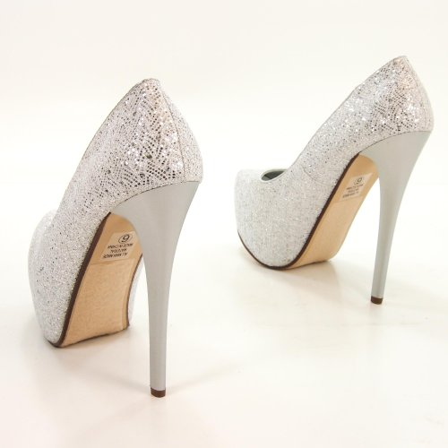 Enters Silver White Glitter Fabric Cover Platform Dress Sky High Stiletto Pump-7