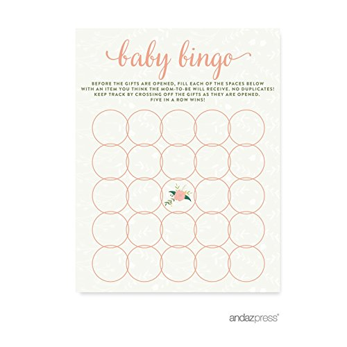 Andaz Press Floral Roses Girl Baby Shower Collection, Games, Activities, Decorations, Baby Bingo Game Cards, 20-Pack