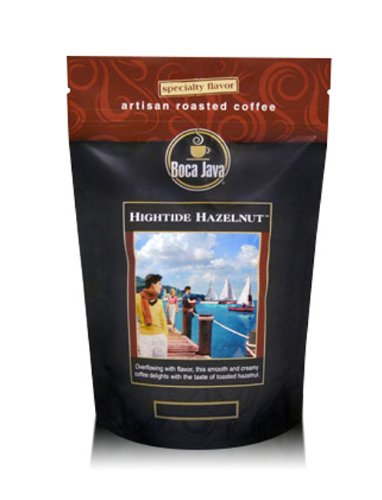 Decaf Hightide Hazelnut, Hazelnut Flavored Decaf Coffee, Whole Bean, 8oz (2 Pack)