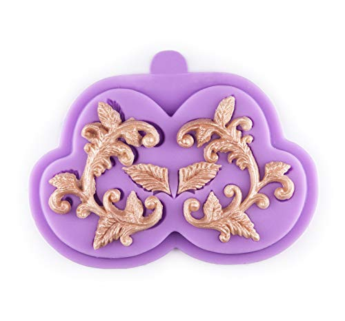 Tasty Molds Curlicues Scroll Flourish Fondant Silicone Mold High Definition Quality Cupcake DIY Birthday Topper Cake Border Decoration Wedding Party Tool for Sugarcraft, Polymer Clay, Crafting Project ()