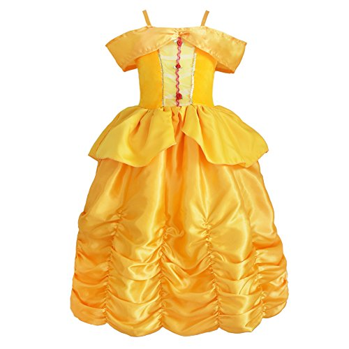 JiaDuo Baby Girls Princess Costume Fancy Party Cosplay Dress Up Yellow 110 (Princess Costumes For Teens)