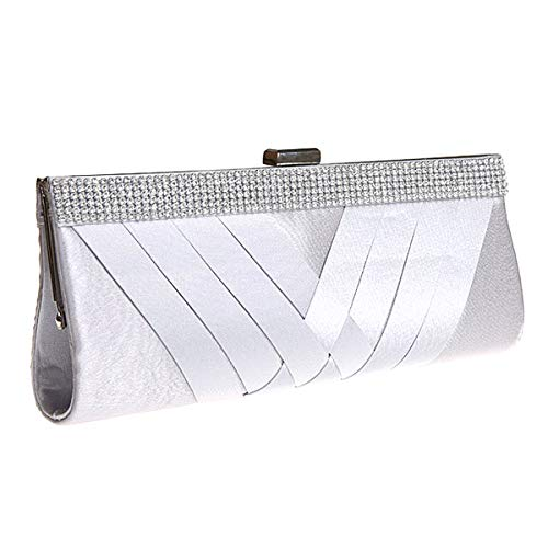 HOZMLIFE Luxury Satin Evening Bag Clutch Women Rhinestone Evening Bag Party Purse Wedding Handbag Shoulder with Chain Strap ()