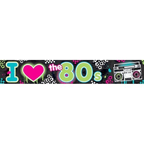 Amscan Radical 80's Foil Party Banner Decoration, 25', Black (Two-Pack) -