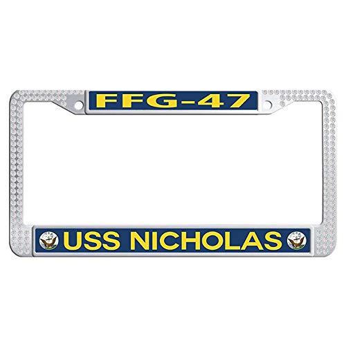 (Hensteelna U.S. Navy Military Glitter Diamond License Plate Covers USS Nicholas FFG-47 Sparkle Rhinestones Car Auto Tag Frame (White,1 pic, 6' x 12' in))