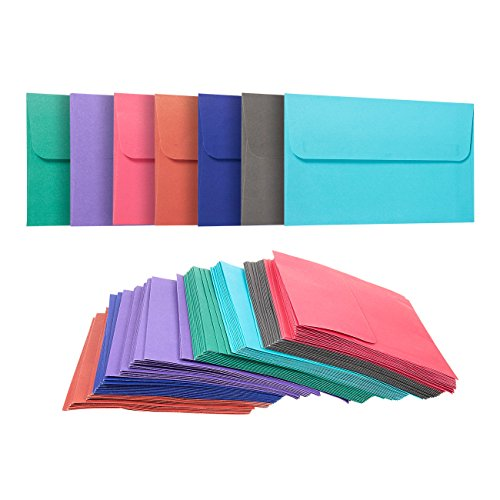 100 Pack A4 Envelopes - 4.25 x 6.25 Inches - Square Flap Photo Envelopes - Invitation Envelopes for Wedding Invitations - 100GSM, Assorted Colors ()