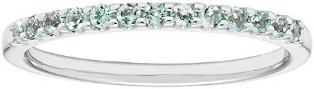 14K White Gold Aquamarine Birthstone Stackable Band Ring