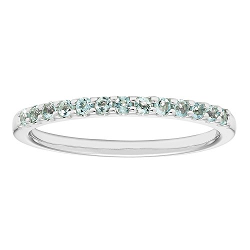 14K White Gold 1.04 Tgw. Aquamarine March Birthstone Stackable 2MM Band Ring by Boston Bay Diamonds