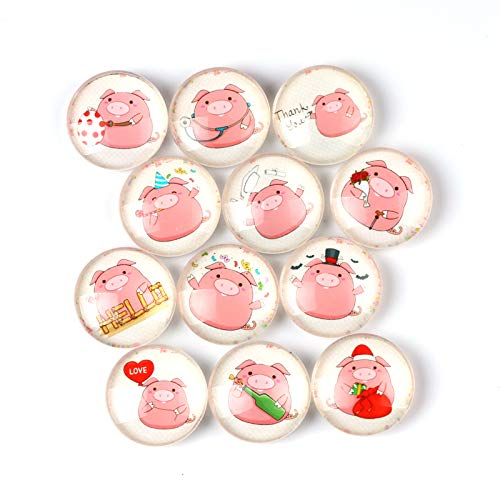 (Pink Pig Refrigerator Magnet Party Set of 12 Pack 3D Round Face For Silver Fridge Office Dry Erase Board Stainless Steel Door Freezer Whiteboard Cabinet Magnetic Great Fun for Adult)