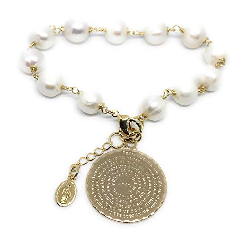 Freshwater Pearl Rosary Bracelet (Padre Nuestro Freshwater Cultured Pearls Pendant Bracelet Our Father Spanish Prayer)
