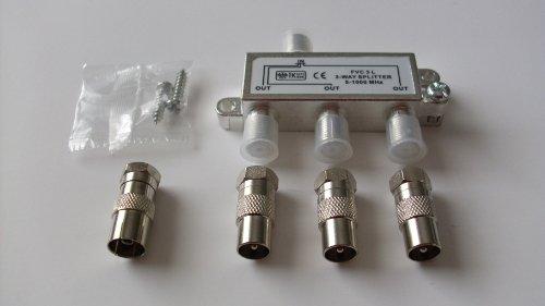 Breitband-Kabel-Verteiler, 3-fach TV-Verteiler Weiche Dreifachverteiler für DVB-T und Kabelfernsehen
