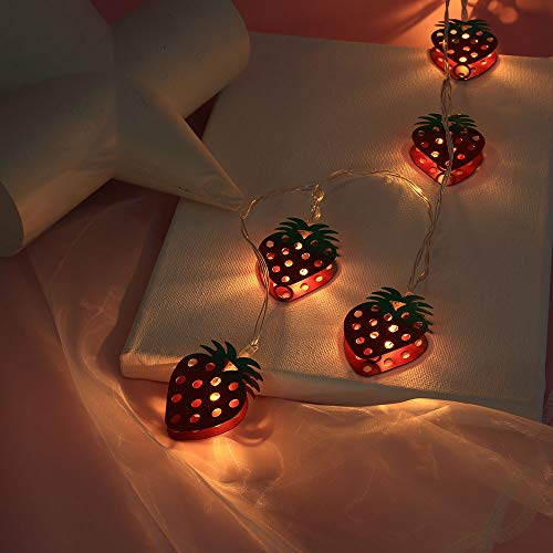 (Coohole 6.6Ft 10LED Strawberry Cactus Molds String Lights Ornaments Party Home Decoration (Red))