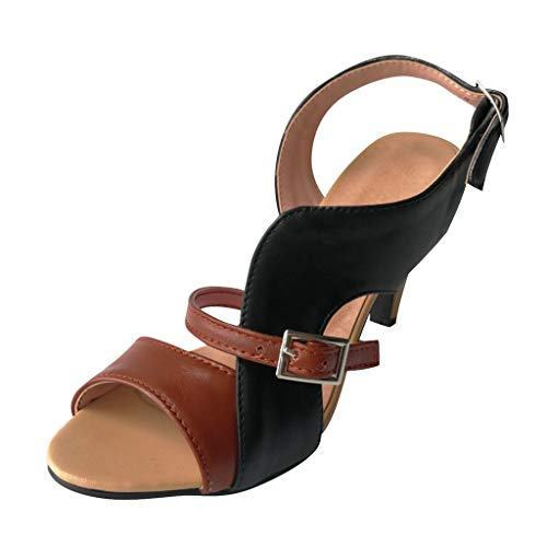 Haalife◕‿Women's Slingback Pumps Stiletto Ladies Peep Toe Sandals Dress Party Platform Latin Salsa Tango Ballroom Shoes Brown ()