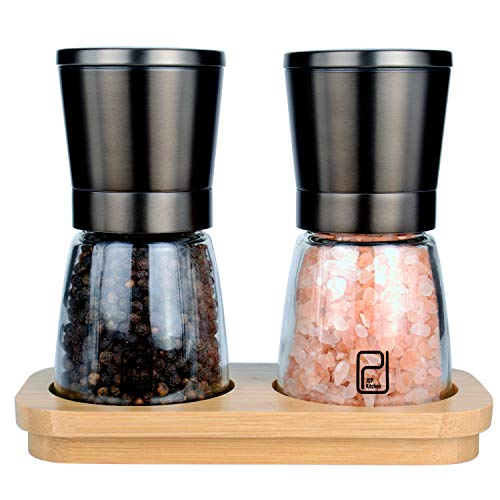 Premium Black Stainless Steel Salt and Pepper Grinder Set With Stand in Bamboo Wood - Gunmetal Salt and Pepper Shakers with Adjustable Coarseness - Black Pepper Mill and Salt Grinders Shaker set