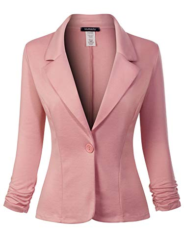MixMatchy Women's Classic Casual Work Solid Color Knit Blazer Mauve S